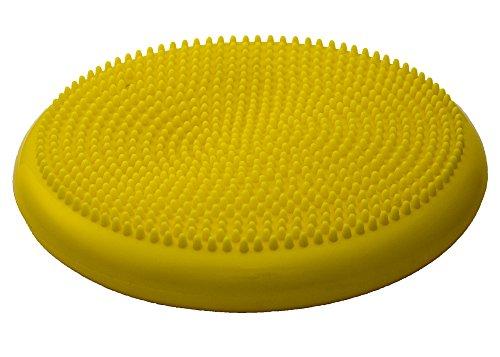 AFH-Webshop Balance Luftkissen Sitzkissen mit Noppen | 35cm mit Pumpe Balanceboard, gelb, 35 cm