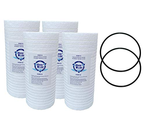 Whirlpool WHKF-GD25BB Aqua-Pure AP810, AP801 GE GXWH30C GXWH35F GWWH40 Compatible Filter, KleenWater KW810 Replacement Water Filter Cartridge, Set of 4, with 2 Whirlpool WHKF-DWHBB and GE Compatible O