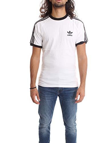 adidas Tres Bandas Camiseta de Manga Corta, Hombre, Blanco (White), XS