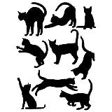 ウォールステッカー 黒猫 9タイプ 動物 ペット シール