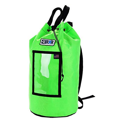 """Rock N Rescue Grand Rope Bag with Drawstring Closure - Rock Climbing and Rescue Gear, Heavy Duty Waterproof Nylon Material, 200' of 1/2"""" Capacity, Standard, Green"""