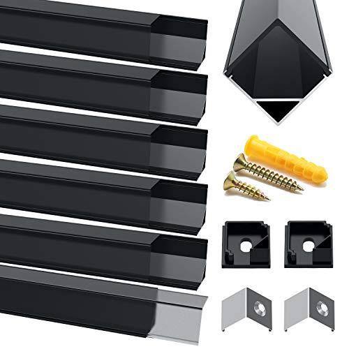 Chesbung LED Aluminium Profil, 6X1m LED Aluminium Leisten V-Form, LED-Kanäle, LED Profil Schwarz für LED-Streifen (1-12mm), mit Endkappen, Metall Befestigungs Clips und Montagematerial