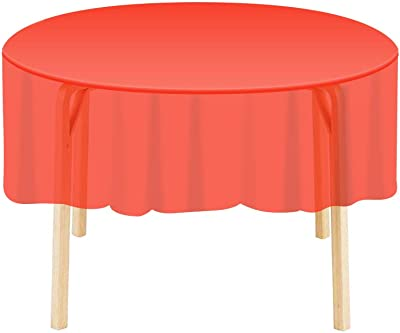 "84/"" Orange Wedding Birthday Round Party Tableware Plastic Table Cover"