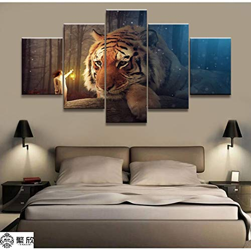 WWALL 5 Paneles Imagen Sin Marco Forest Tiger Canvas Picture Print Painting Artwork Wall Art Canvas Painting 40X60 40X80 40X100Cm No Frame