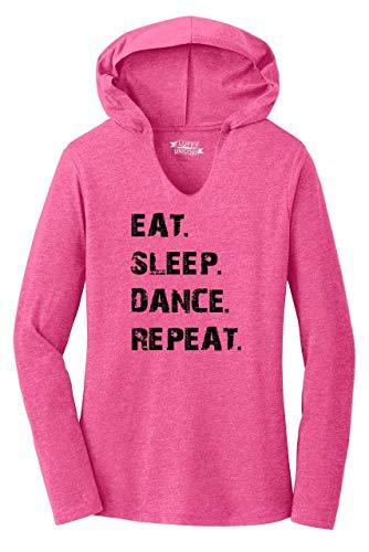 Ladies Hoodie Shirt Eat Sleep Dance Repeat Fuchsia Frost XS