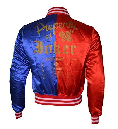 BURNING SKULL BSKULL Harley Quinn Property of The Joker Blue & Red Satin Jacket SMALL Red Blue