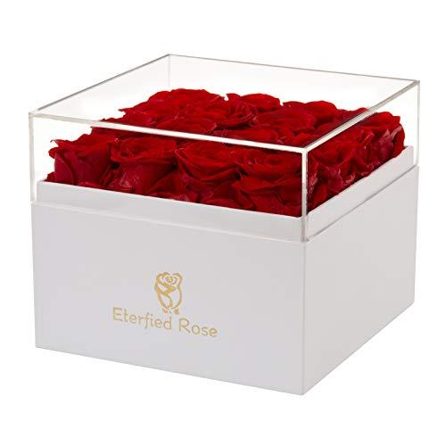Eterfield Rosenbox Flowerbox mit 16 Infinity Rosen Geschenk 3 Jahre Haltbar für Sie (Rot, Square Box)