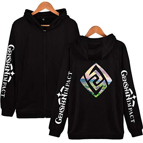 Genshin Impact 2D Zip Hoodies Sweatshirt 2020 New Game Damen/Herren Mode Hoodies Reißverschluss Coole Kleidung Gr. L, schwarz 1