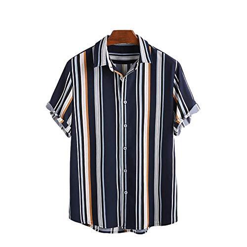 Camisa de Manga Corta a Rayas Retro para Hombre, Ropa de Calle, Solapa, Color a Juego, Tendencia, Camisas de Manga Corta Regulares a la Moda XXL