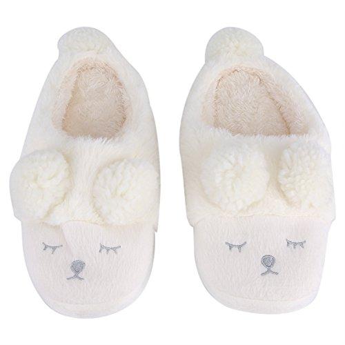 Inverno Pantofole Home Morbido Antiscivolo Cotone Scarpe Caldo Peluche Casa Pattini per Donne Uomini inverno(38-39-Bianca)
