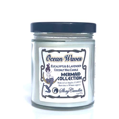 Eucalyptus, Lavender Scented 6oz Candle || Coconut Wax ||'OCEAN WAVES'
