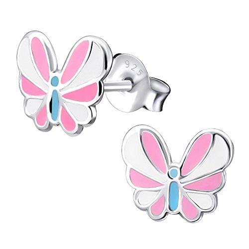Laimons Kids Orecchini a pressione per bambini gioielli per bambini Farfalla Bianco, Rosa, Blu Argento Sterling 925