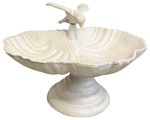 zeitzone Vogeltränke auf Fuß Vogel Vogelbad Futterschale Gusseisen Antik-Stil Shabby-Weiß