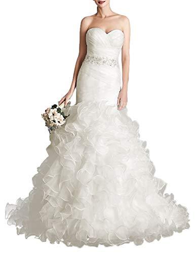 HUINI Brautkleider Meerjungfrau Trägerloses Hochzeitskleider Prinzessin Rückenfrei Brautmode Kleider Lang mit Schleppe Elfenbein 36
