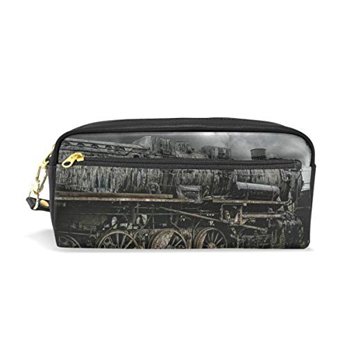 DEZIRO Vintage Dark Steam Loco Pencil case Doos Cosmetische Tas