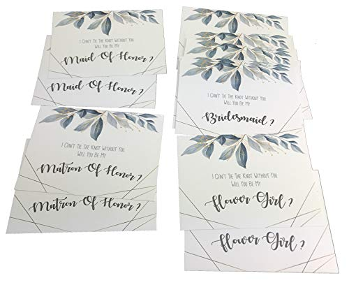 Will You Be My Bridesmaid 16 Cards with Matching Size White Envelopes for 10 Bridesmaids, 2 Matron of Honor, 2 Maid of Honor & 2 Flower Girls Card for Bride to Help Tie The Know. (Light Blue)