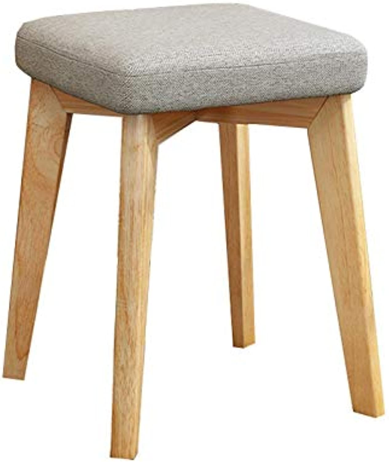 Square stool Solid Wood Chair Home Dining stool Adult Chair Fabric stool Rubber Wooden Bench 32  32  45cm
