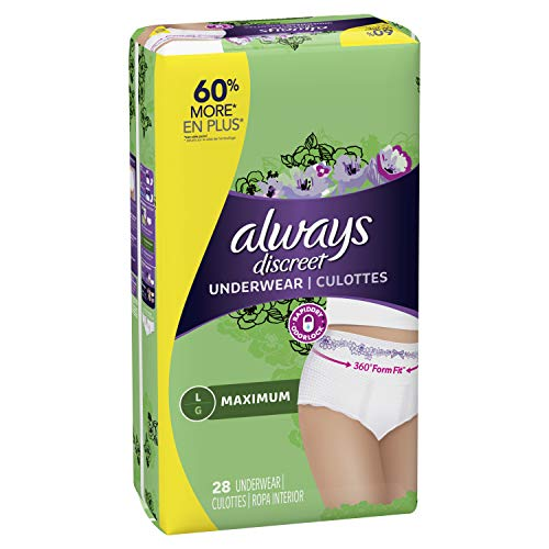 Always Discreet, Incontinence & Postpartum Underwear for Women, Maximum, Large, 28 Count