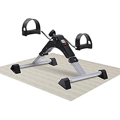 MBB Under Desk Cycle,Folding Pedal Exerciser,Mini Stationary Bike,Leg and Arm Exerciser Complimentary Triangle Anti - Slip Rubber Cover and Anti - Slip Pad