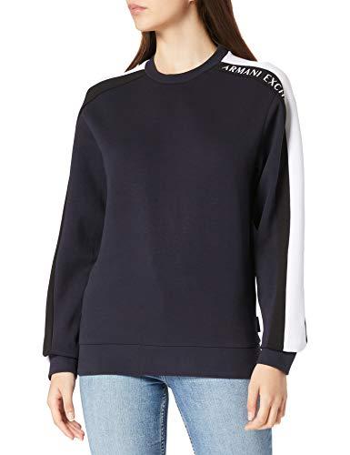 ARMANI EXCHANGE Sweatshirt Maglia di Tuta, Blu Navy, Bianco e Nero, XS Uomo