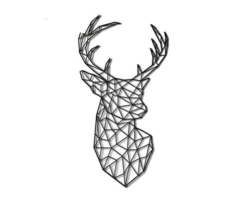 Pet-Jos Decoración de pared de ciervo, decoración de pared, cabeza de ciervo, cabeza de ciervo, decoración geométrica minimalista para colgar