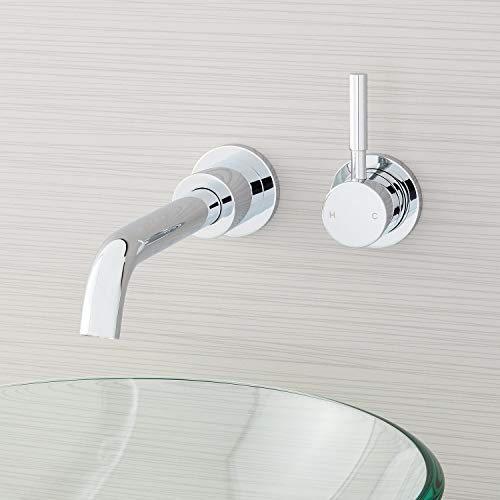 Signature Hardware 948608 Edenton 1.2 GPM Wall Mounted Mini-Widespread Bathroom Faucet with Lever Handle