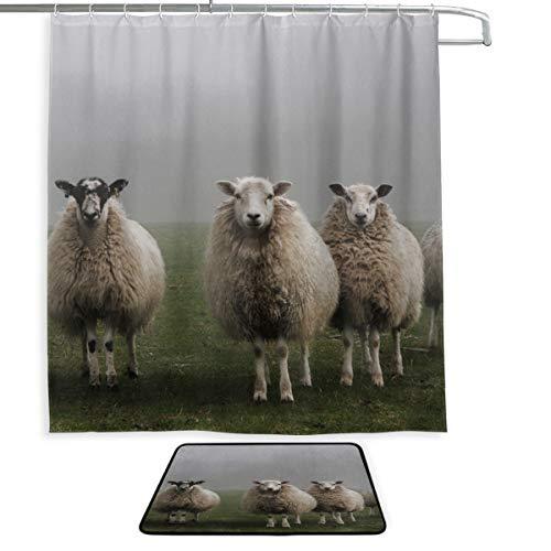 Vorhänge für Badezimmerfenster Schafe in Einer Wiese auf grünem Gras Fenstervorhänge Badezimmer Badteppich und Duschvorhang 2 Set mit 12 Haken für Hauptbadezimmer, Kinderbadezimmer, Gästebad