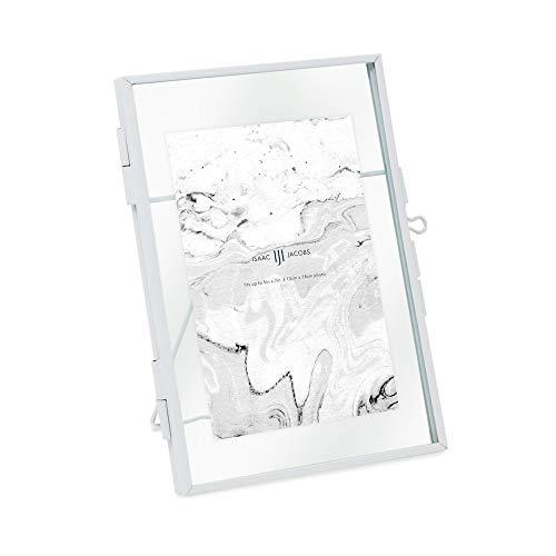 Isaac Jacobs 5 x 7, negro estilo moderno latón y vidrio, vidrio prensado, metal flotante marco de fotos (vertical), con cierre de...