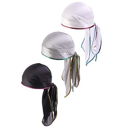 Treer 3 Stück Durag Unisex Sport Kopfbedeckung Kopftuch, Atmungsaktiver Pirat Cap Radfahren Bandana Fahrrad Motorrad Piratentuch Stirnband Biker Hat Laufen Mütze Helmmütze (One size,C)