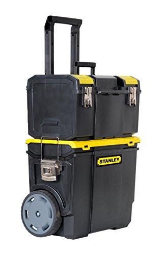 Stanley Mobile Werkzeugbox (48 x 57 x 29 cm, 2-in-1 Variante mit abnehmbarer Werkzeugbox, robuster Teleskopgriff, große 7 Zoll Räder) 1-70-327