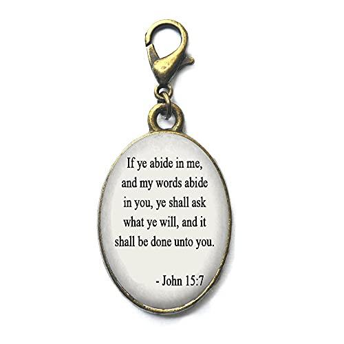 Cremallera inspiradora Tire de la Biblia Verso Joyería Biblia Cremallera Tire Juan 15:7 Cita del Evangelio de la Biblia Jesús Escritura Joyas-#253