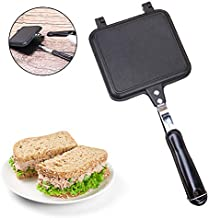 TaiRi Sartén de doble cara para sándwich, tostadora de pan a prueba de calor de hierro a gas/panqueque de gofres/parrilla/parrilla de horno sartén, revestimiento antiadherente para el desayuno