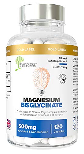 Magnesium Bisglycinate | 1000mg Dose / 500mg Capsules | 120 Capsules / 60 Servings (2 Months) | Highest Bioavailability | No Magnesium Stearate or Fillers | Chelated & Non-Buffered