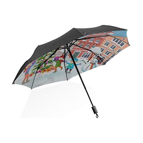 Paraguas invertido para niños Personas Que patinan en la Pista de Hielo Paraguas Plegable portátil Compacto Protección contra Rayos UV A Prueba de Viento Viajes al Aire Libre Paraguas Reversible para