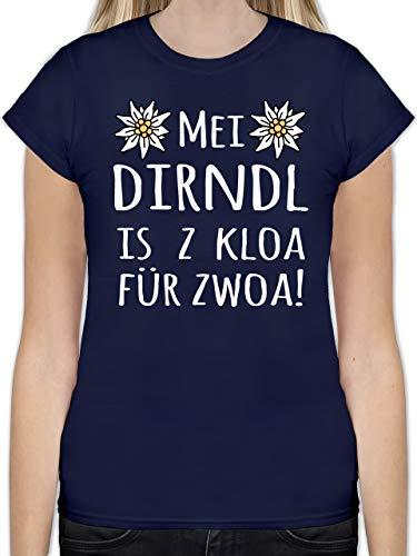 Oktoberfest Damen - MEI Dirndl is z kloa für zwoa! weiß - XXL - Navy Blau - L191 - Tailliertes Tshirt für Damen und Frauen T-Shirt