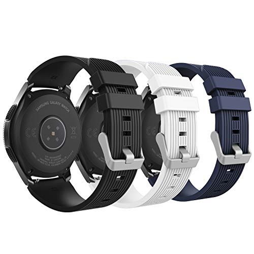 MoKo Armband Kompatibel mit Huawei Watch GT 2 46mm/Samsung Galaxy Watch 46mm, 22mm Silikon Uhrenarmband Erstatzband mit Schließe für Gear S3 Frontier/S3 Classic - Schwarz & Weiß & Mitternachtsblau