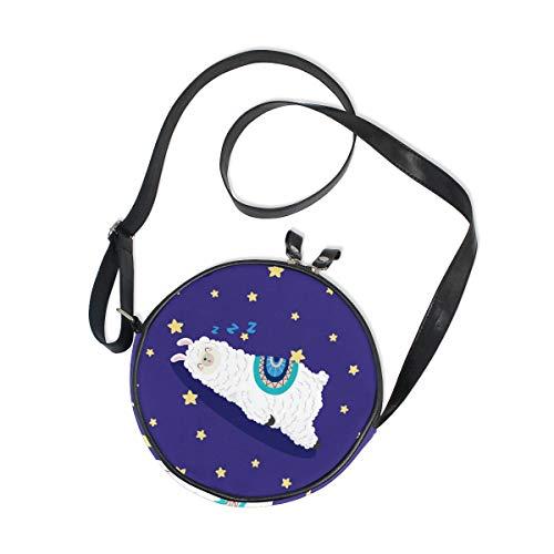 Emoya Bolso bandolera para mujer, diseño de llamas de dibujos animados con estrellas de piel y cierre de cremallera, bolso redondo para teléfono celular