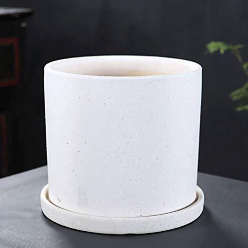 PLL keramische bloempot cilindervormige ronde eenvoudige groene bloempot met gedeelde schaal ademend vleesachtige
