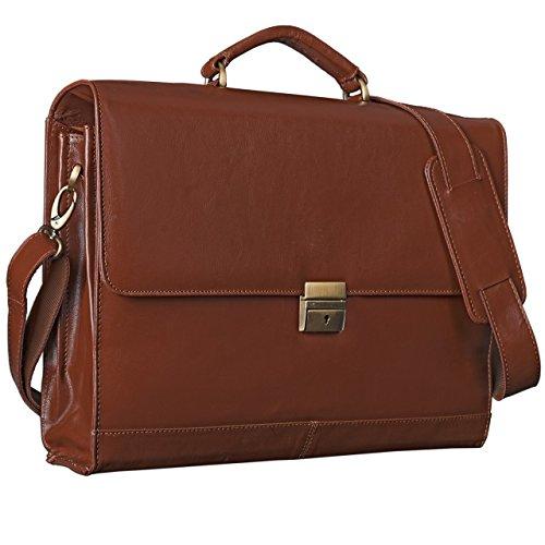 STILORD 'Philipp' Vintage Leder Aktentasche Braun Herren mit 15,6 Zoll Laptopfach Dreifachteilung Dokumententasche Groß Antik Leder, Farbe:Kupfer - braun
