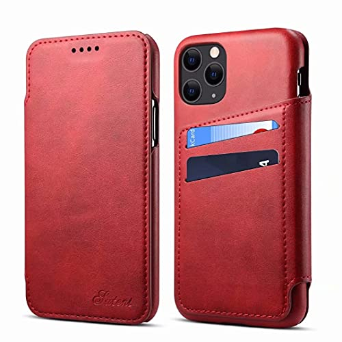Koogmoon Q2 Series for iPhone 11 Pro Max 6.5 inch Leather Flip Wallet Case with Card Holder , Business Pepole Protective Travel Cover for Apple Cell Phone 2019(Color-Red