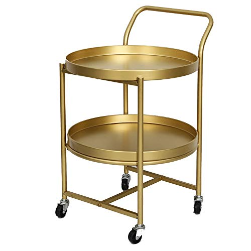 XJLJ Coffee Tables 2 Tier Metal Utility Rolling Cart Storage Organizer Small Coffee Table Sofa Side Table Sofa Table for Office Furniture (Color : Gold, Size : 40×40×63cm)