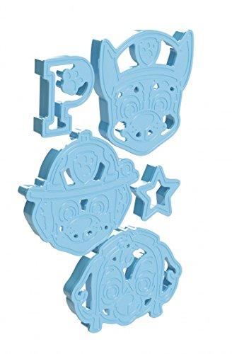 Paw Patrol Ausstechförmchen zum Backen und Gestalten, aus Kunststoff blau mit den Motiven Chase und Marshall, Stern und P – TM Essentials 720367