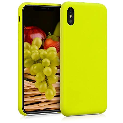kwmobile Hülle kompatibel mit Apple iPhone XS Max - Handyhülle gummiert - Handy Case in Zitronengelb