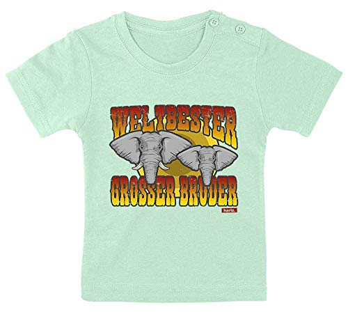 HARIZ Baby T-Shirt Weltbester Grosser Bruder Elefanten Weltbester Grosser Bruder Plus Geschenkkarte Zahnpasta Grün 3-9 Monate / 60-69cm