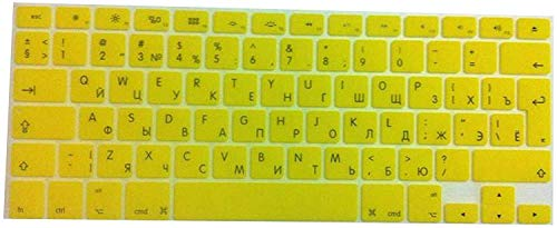 All-Equal Euro Keyboard Cover Skin Voor Macbook Pro 13 15 17 Inch Voor Macbook Voor Air 13 Retina 13 15 2013 2014 2015,Clear size Geel