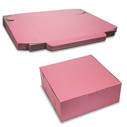 Beautiful Lock Corner Pink Clay Coated Kraft Paperboard Bakery Box No-Window Size 8' x 8' x 3' by MT Products (15 Pieces)
