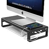 モニター台 机上台 USB モニタースタンド Vaydeer パソコン台 ディスプレイ台【4 USB 3.0 ポートHub】 データを効率的に転送 充電ポート多機能 耐摩耗性 高耐久性のあるアルミニウム合金パネル 高級感 キーボード収納 USBケーブル付き 卓上 収納整理 27 inch iMACに適用できます オフィス/自宅用,小さな黒