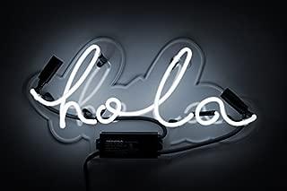 Oliver Gal |Hola Neon Sign |Original Handmade Neon Light. Modern Wall Decor. 16x7 inch, White