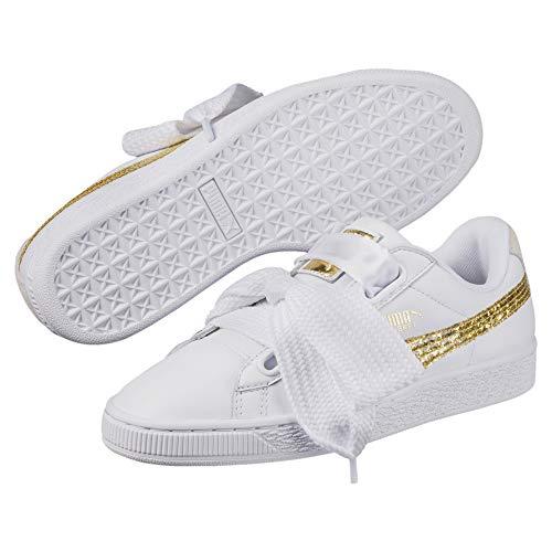 Puma Damen Basket Heart Ns Sneaker, White - White Gold Glitter -  35.5 EU (3 UK) thumbnail