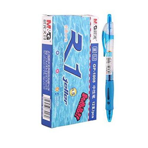 12 pcs M&G GP-1008 0.5mm Roller Gel Pen Retractable Smooth Writing (Blue)
